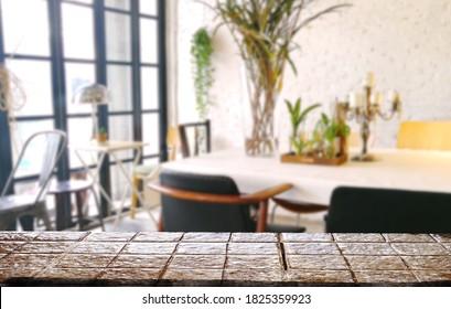 Mock up background restaurant  or  living room mock up  empty top table