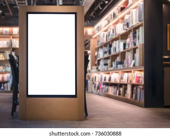Mock up Banner Light box Bookstore interior Background