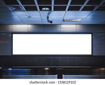 Mock up Banner Media Advertising Light box Sign Panorama indoor Subway station