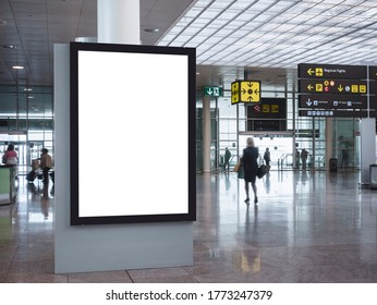 Mock up Banner Media Indoor Airport Signature information with People Walking