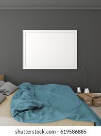 mock up bedroom hipster style interior background. 3d viz