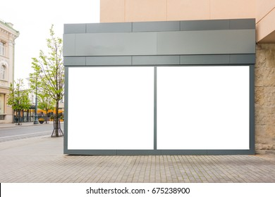 Mock up of big store showcases windows in the street