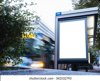 Mock up Billboard Banner Light box at Bus Stop Blur Bus cars