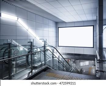 Mock up Billboard Banner signage Media lightbox in subway with escalator