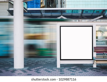 Mock up Billboard Banner template Bus Stop Media outdoor street Sign display