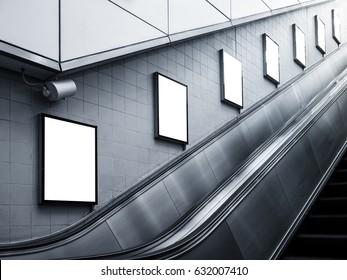 Mock up Billboard Poster ads Escalator side Subway station