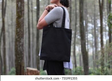 mock up black blank canvas bag