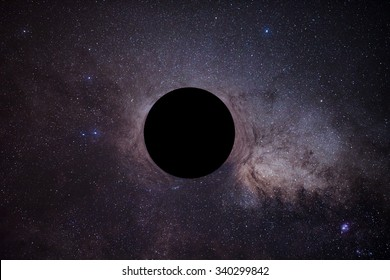 The mock of black hole in front of milky way.