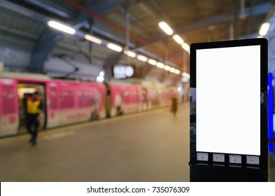 mock up blank advertising billboard with copy space for your text message or media and content at subway or sky train station, commercial, marketing and advertising concept