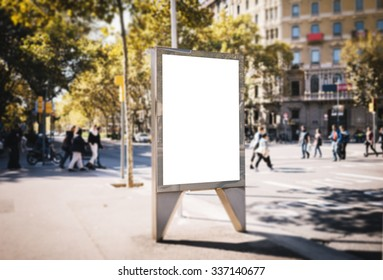 Mock up of blank advertising light box in the city
