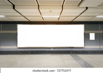 mock up blank billboard with copy space for advertising or media and content marketing at train station, marketing and advertising concept