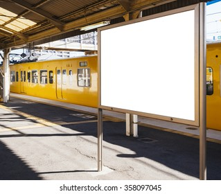 Mock up Blank board Train station Platform with Public transportation Background perspective