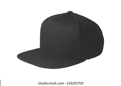 Mock up blank flat snap back hat black isolated view on white background