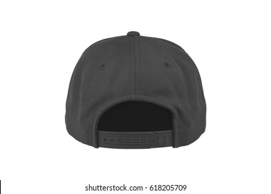 Mock up blank flat snap back hat black back view on white background