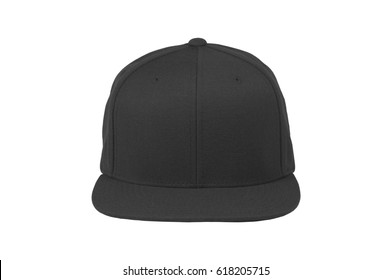 Mock up blank flat snap back hat black front view on white background