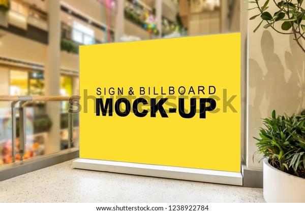 Mock Blank Large Yellow Screen Billboard Stock Photo (Edit