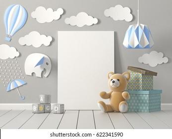 Mock up blank poster on wall of nursery room, Childhood, 3D rendering.