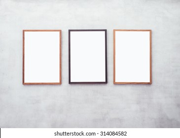 Mock up Blank Posters with Wooden frame on Cement wall