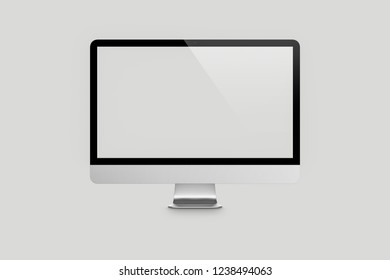 Mock up Blank screen computer desktop on soft gray background.