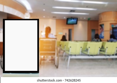 mock up of blank showcase billboard or advertising light box for your text message or media content with patient in wheelchair waiting in lobby at hospital, commercial, marketing, advertising concept