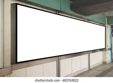 Mock up Blank Signboard template display on the wall at Train station
