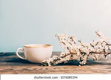 Mock up with blossoming tree branch and cup of coffee on wooden table with blue background. close up view.