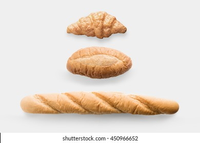 Mock up bread rolls set isolated on white background. Clipping Path included on white background.