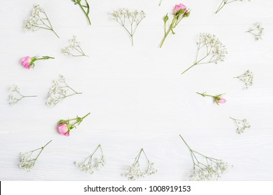 Mock up Composition of white and pink flowers rustic style, for St. Valentine's Day with a place for your text. Flat lay, top view photo mock up