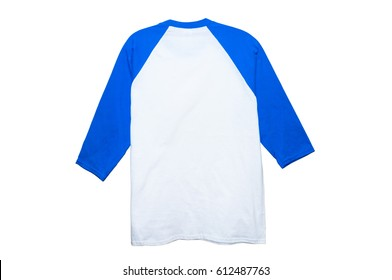Mock up Cotton 3/4 Sleeve Raglan color white/blue back view on white background
