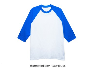 Mock up Cotton 3/4 Sleeve Raglan color white/blue front view on white background