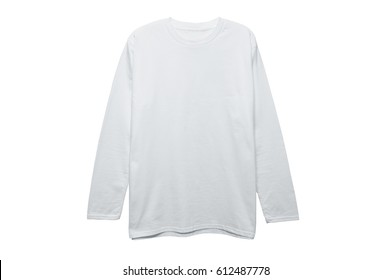 Mock up Cotton Long Sleeve T Shirt color white on white background