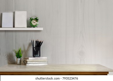 Mock up desk top concept, Workspace with office supplies , books on white marble table.