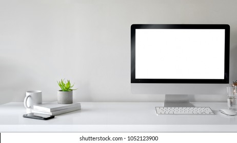mock up desktop : Creative designer workspace mockup with desktop computer screen isolated.