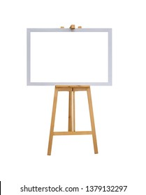 mock up empty blank white canvas board with realistic wooden easel stand isolated on white background with clipping path
