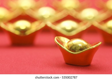 Mock gold ingots closeup