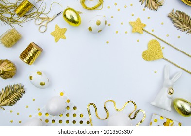Mock up Happy Easter greeting card. Trendy flat lay easter concept. Golden eggs and white background. Flat lay easter composition