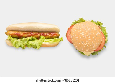 Mock up hot dogs and hamburgers set isolated on white background. Clipping Path included on white background.