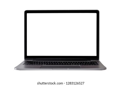 Mock up laptop devices isolated white background. personal computer notebook with empty screen. white,blank copy space for use.
