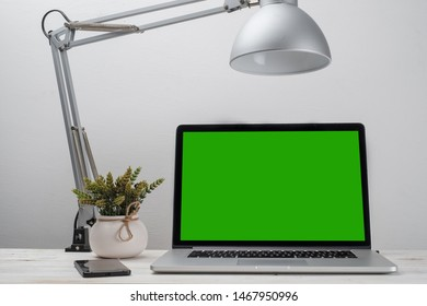 Mock up laptop with green screen, design template.