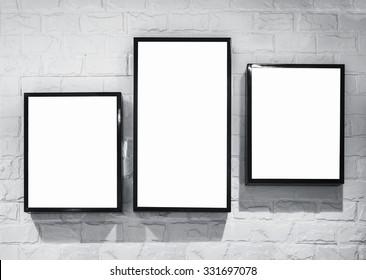 Mock up Light box frame design template on white brick wall