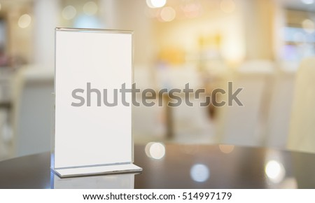 Mock Menu Frame On Table Bar Stock Photo (Edit Now) 514997179 ...
