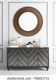 mock up mirror over chest drawers. 3d rendering. 3d illustration