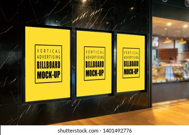 Mock up perspective three vertical billboard with clipping path on the wall and walkway outside the bakery shop, empty space for insert advertising, information and promotion