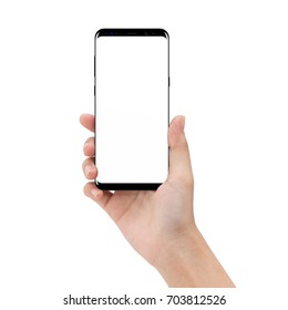 mock up phone in holding hand isolated on white background clipping path inside
