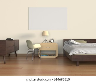 Mock up poster in bedroom, 3D Rendering