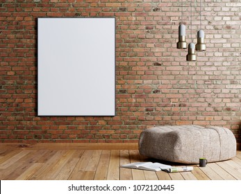 Mock up poster in a brick wall background in a loft style living room with beige fabric ottoman, stainless lamp and magazine. 3D rendering