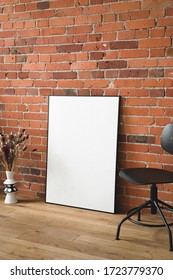 mock up poster or canvas, real loft interior arrangement photograph