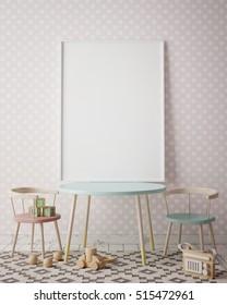 mock up poster frame in children room, scandinavian style interior background, 3D render, 3D illustration