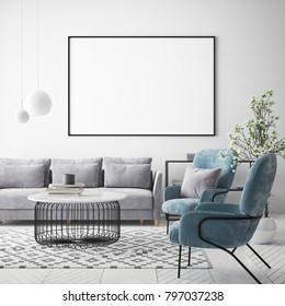 mock up poster frame in hipster interior background, Scandinavian style, 3D render, 3D illustration