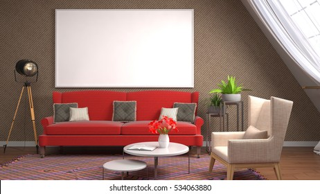 mock up poster frame in interior background. 3D Illustration.